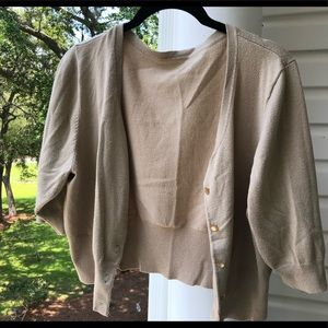 Sweaters - 3/4 sleeve tan cardigan